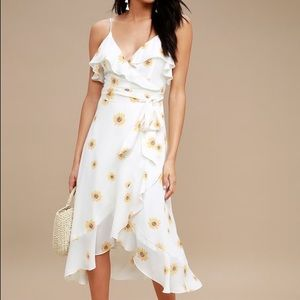 Lulus White Floral Print High-Low Wrap Dress